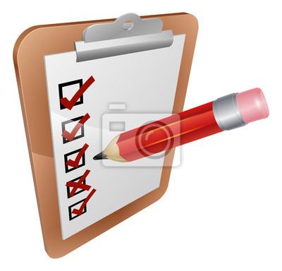 Clipboard survey and pencil icon
