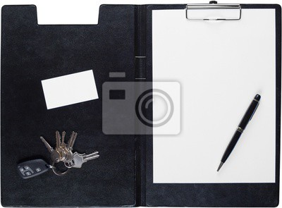 Clipboard with Blank Paper, Pen, Businesscard and Keys -