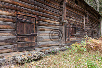 Closed old wooden barn door
