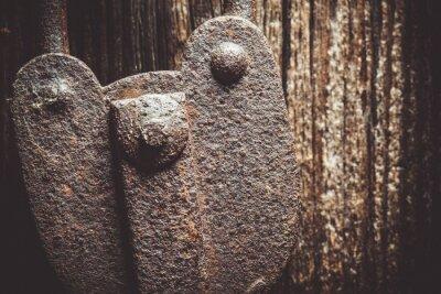Closeup of a very old rustic padlock