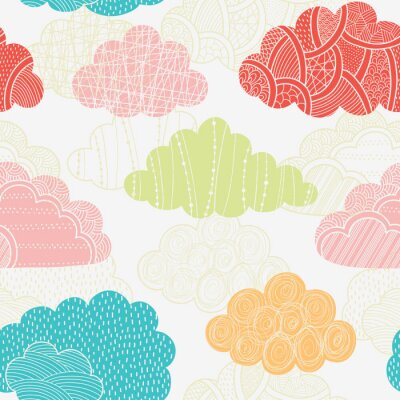 Wall mural Clouds seamless pattern