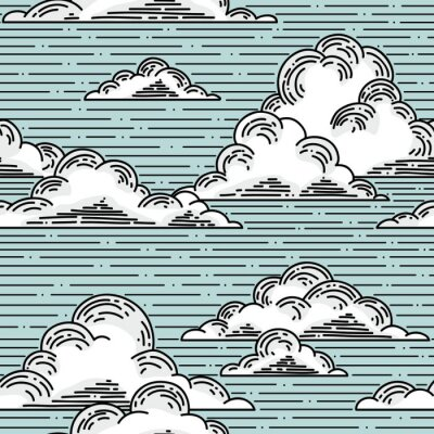 Wall mural Clouds seamless pattern hand-drawn illustration.  Vector background