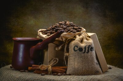 Wall mural coffee bag on dark background