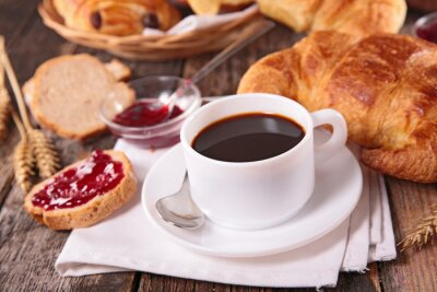 Wall mural coffee cup and croissant