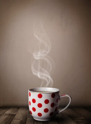 Wall mural Coffee cup with abstract white steam