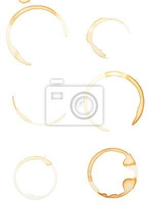 Wall mural Coffee stains isolated on white