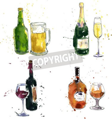 Wall mural cognac bottle and cup, wine bottle and glass, champagne bottle and glass, beer bottle and cup, drawing by watercolor and ink, hand drawn vector illustration