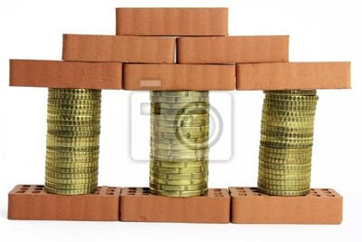 coins columns with baking stones