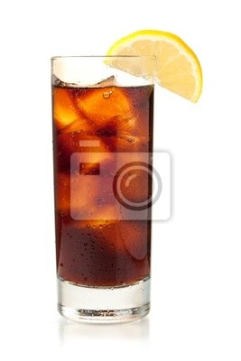 Wall mural Cola in highball glass with lemon slice