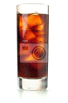 Cola in highball glass with water drops