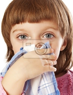 cold - little girl blowing her nose