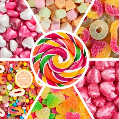 Wall mural Collage of different colorful candy