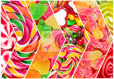 Collage of different colorful  candy
