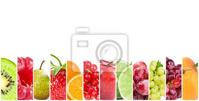 Collage of fresh fruits and berries on white background.