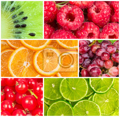 Collage of fresh summer fruit