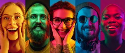 Wall mural Collage of portraits of young emotional people on multicolored background in neon. Concept of human emotions, facial expression, sales. Smiling, listen to music with headphones. Flyer for ad, proposal