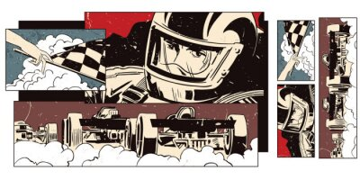 Wall mural Collage on theme sport and car racing.