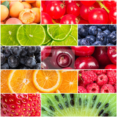Collage with fresh fruits and berries