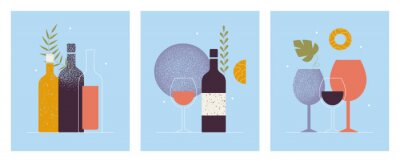 Wall mural Collection of abstract modern posters of wine bottles, glasses. Cocktail, alcohol beverage. Wine tasting concept. Invitation for an event, festival. Restaurant menu. Isolated vector illustrations set