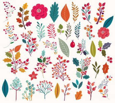 Wall mural Collection of  flowers and leaves