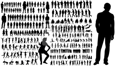 Wall mural  collection of silhouettes of people men and women