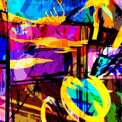 color abstract ethnic pattern in graffiti style with elements of urban modern style