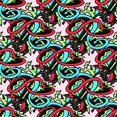 color abstract ethnic seamless pattern in graffiti style with elements of urban modern style bright quality illustration for your design