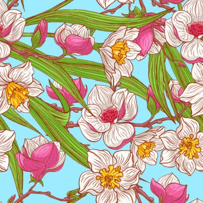 Wall mural color magnolias and narcissus