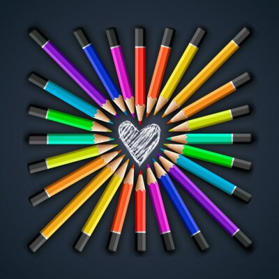 Wall mural Colored pencils, heart shape, vector Eps10 illustration.
