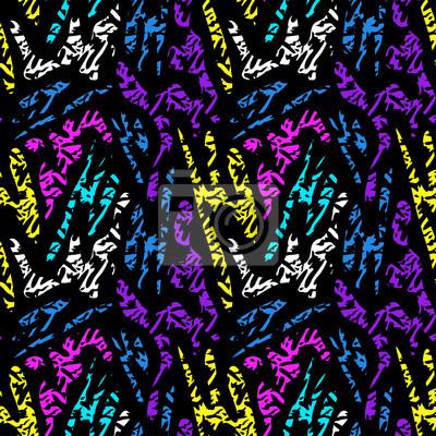 colored seamless pattern on black background graffiti