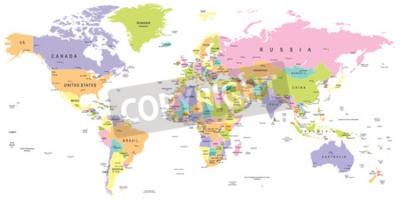 Wall mural Colored World Map - borders, countries and cities - illustration
