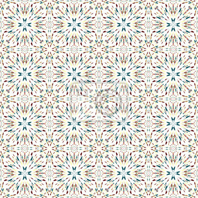 colorful abstract geometrical objects on a white background seamless pattern vector illustration