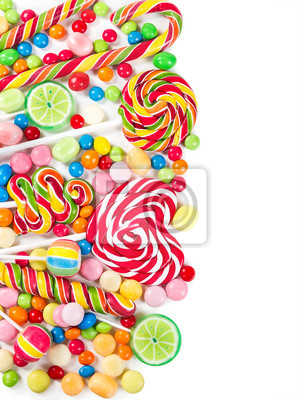 Colorful candies and lollipops isolated on a white background