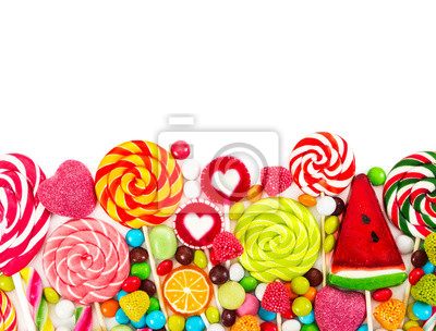 Colorful candies and lollipops. Top view.