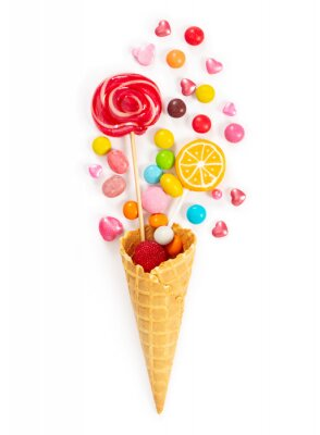 Wall mural Colorful candy and lollipop in waffle cone