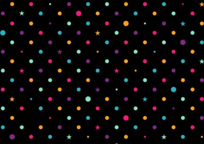 Wall mural Colorful Dots Black Background Vector Illustration