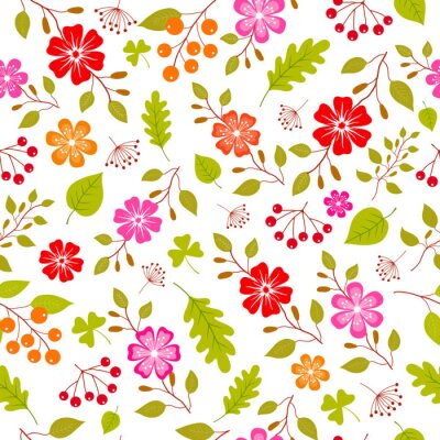 Wall mural Colorful flowers seamless pattern