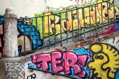 Wall mural colorful graffiti on a wall