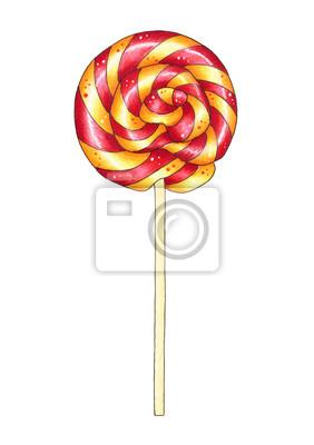 Colorful lollipop. Hand drawn marker illustration.