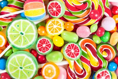 Wall mural Colorful lollipops and candy