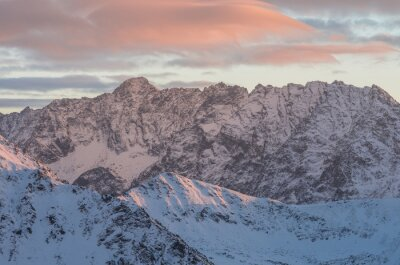 Wall mural Colorful mountain sunset panorama at winter in High Tatras