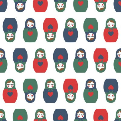 Wall mural Colorful Nested doll seamless pattern. Cute wooden Russian doll - Matrioshka. Nested doll Matrioshka illustration isolated on white background.