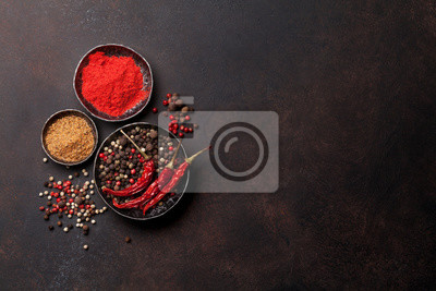 Colorful pepper. Various spices and herbs