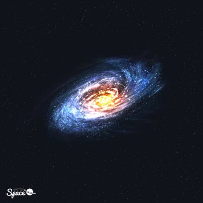 Wall mural Colorful Realistic Spiral Galaxy on Space Background. Vector illustration.