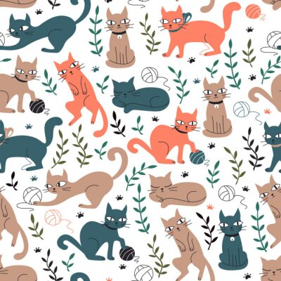 Wall mural Colorful Seamless Pattern with Cats and Leaves.