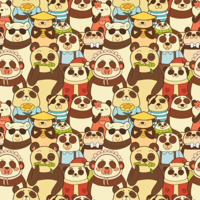 Wall mural Colorful seamless pattern with funny pandas