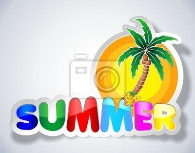 Colorful Summer Sticker-Adesivo Estate con Palma