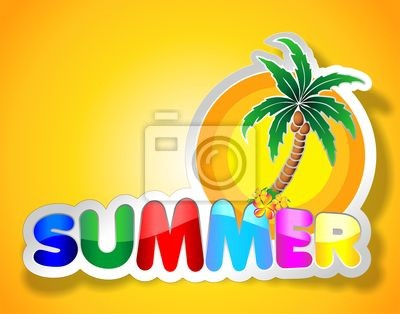 Colorful Summer Sticker-Adesivo Estate con Palma-Vector