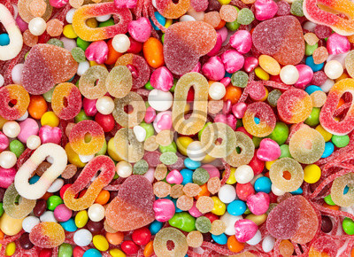 Wall mural Colorful sweets and different colored candies.