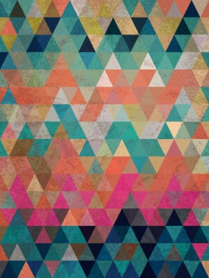Wall mural Colorful triangles with antique style background